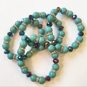 Lot of 4 Turquoise Stretch Bracelets